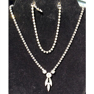 Vintage clear rhinestone necklace with matching bracelet c.1950s
