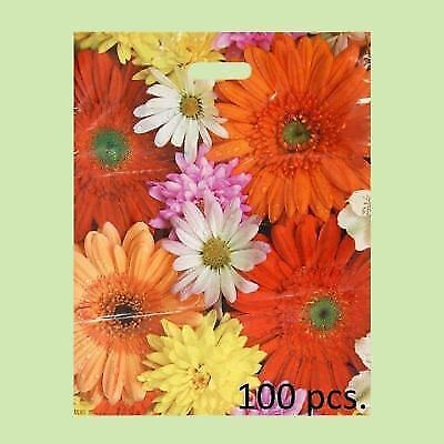 ECO Flower-Printed Plastic Gift/Shopping/Carrier Bags 40x50 cm 2 Packs of 50 pcs
