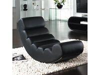 dwell Ripple Rocker Chair Black Faux Leather RRP £199