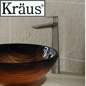 NEW KRAUS APLOS SINGLE LEVER FAUCET BRUSHED NICKEL VESSEL BATHROOM FAUCET 108945541