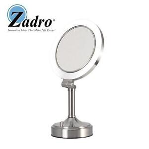 NEW ZADRO LIGHTED VANITY MIRROR SURROUND LIGHTED DIMMABLE FLUORESCENT - SATIN NICKEL FINISH 100647063