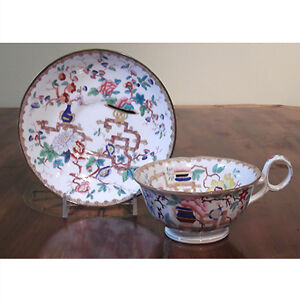 Antique Minton Chinese Tree No 2067 Footed Cup and Saucer