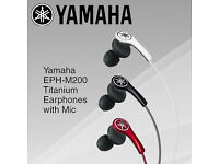 White YAMAHA M200 In Ear MFi Headphones/Earphones with Mic White RRP £71.99