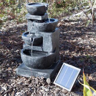 4 Tiers Casarding Solar Water Fountain LED Light Garden Outdoor