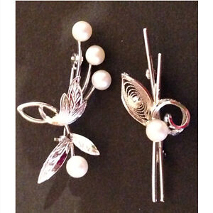 Pair of vintage sterling silver and cultured pearl brooches