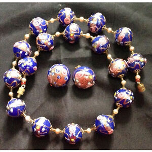"Vintage Cobalt Blue Murano Glass ""Wedding Cake"" Beaded Necklace"