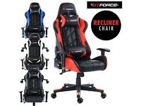 GTFORCE PRO GT GREY RECLINING SPORTS RACING GAMING OFFICE DESK PC LEATHER CHAIR
