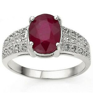 1.82 CT African Ruby & Diamond 10K Solid White Gold Ring