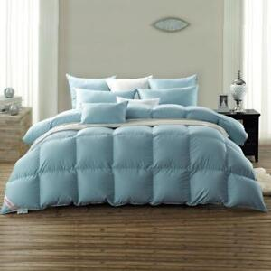 Twin Snowman Luxury White Goose Down Comforter Twin Size 100% Cotton Cover Down Proof Blue
