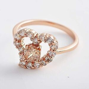 New Rose Gold Filled Champagne CZ Heart Ring (Size 8)