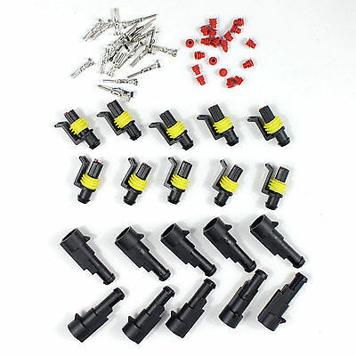 10 sets HID AMP connector 1 pin car  waterproof adaptors wire cable Plug socket