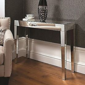 Mirrored glass console table. Brand new in box. Wrong purchase for new house. Beautiful for any room