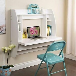 Prepac Wall Mounted Floating Desk With Storage In White Ebay