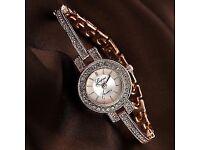 ladies rhinestone bracelet watch