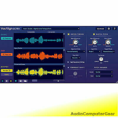 Synchro Arts VOCALIGN ULTRA Pro Auto Align Time Pitch Audio Software Plug-in NEW