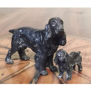 Miniature Cast Iron Spaniel with Pup