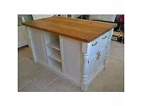 WOOD LIVING Handmade Solid Pine Island Unit with Rustic Oak Worktop