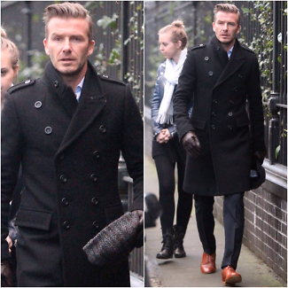 David Beckham Stylish Men Long Double Breasted Trench Pea Ovrcoat