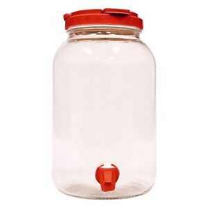 Clear Glass Drink Beverage Dispenser Tapper Container - 1 Gallon