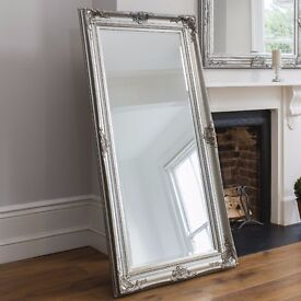 New Harrow 5.5x3ft feature leaner mirror, carved wooden frame in silver or cream