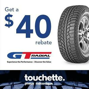 Get a 40$ rebate with the purchase of 4 selected GT Radial tires