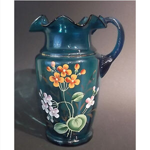 1850-1860 Victorian Blue Glass Pitcher