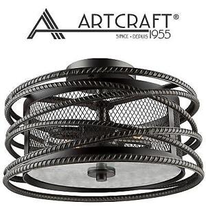 NEW 2 LIGHT CEILING FIXTURE AC10824JV 227073012 LIGHTING ARTCRAFT FLUSH MOUNT DARK JAVA BROWN