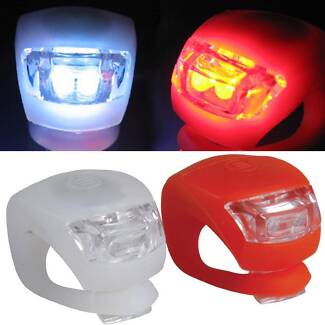 FRONT & REAR SILICON BODIED BRIGHT LED BICYCLE NIGHT LIGHTS BIKE