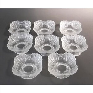 "EAPG set of 8 footed ""Shell and Tassel"" ice cream dishes"