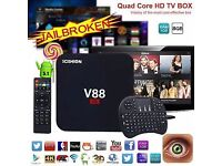 V88 Smart TV Box Android 7.1 RK3229 UHD 4K Quad Core 8GB WiFi H.265 i8 Keyboard FULL SET UP