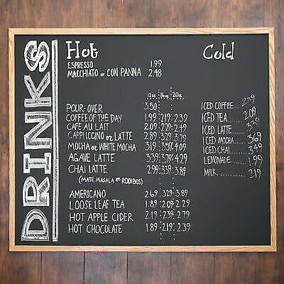 36 X 48 Oak Frame Black Single Sided Restaurant Chalk Menu Board