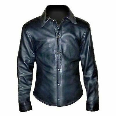 Men-039-s-Police-Uniform-Collared-Shirt-Genuine-Soft-Real-Leather