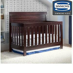 NEW SIMMONS CONVERTIBLE BABY CRIB 320180-907 227524471 4 IN 1 SLUMBERTIME ROWEN BLACK ESPRESSO TODDLER BED DAYBED FUL...