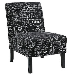 Cortesi Home Chicco Black Script Fabric Armless Accent Chair NEW