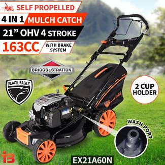 New BLACK EAGLE Stratton Self Propelled Lawnmower 4 Stroke