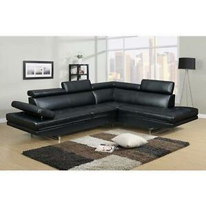 SALE ON NOW  2PCS BONDED LEATHER SECTIONAL WITH ADJUSTABLE HEAD REST $769LOWEST PRICES GUARANTEED