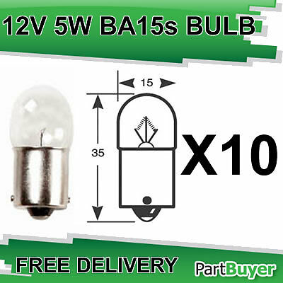 10x RW207 Bulb 12v 5w SCC BA15s Side and Tail Bulbs