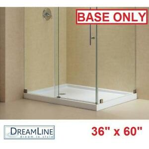 "NEW*DREAMLINE 60"" x 36"" SHOWER BASE - 132957051 - SLIMLINE - DOUBLE THRESHOLD WHITE LEFT DRAIN - BATH BATHROOM BASES ..."