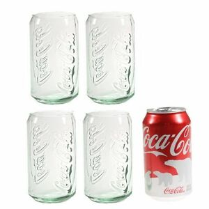 4-Coca-Cola-Glasses-Green-Tint-Glass-Vintage-Style-Retro-Coke-Can-Tumblers-12oz