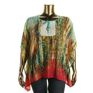 NWT- 2X and 3X-  Chiffon/Lace Printed Caftan Top