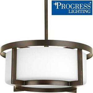 NEW PL2-LIGHT SEMI FLUSHMOUNT - 108850941 - PROGRESS LIGHTING DYNAMO COLLECTION ANTIQUE BRONZE