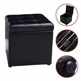 BRAND NEW SET OF 2 - Faux Storage Box Ottoman Pouffe Seat Stools Leather Wood Frame Toy