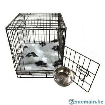 Cage complète avec bac + coussin gris clair + bol inox 6 TAI