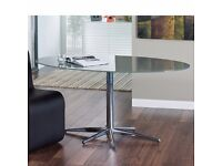 Stellar base glass dining table stone colour, Very Good Condition - Bought for £299 -Collection only