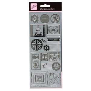 POSTAGE STAMPS Anitas SILVER peel off outline stickers card making craft
