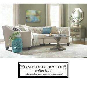 NEW* HDC RIEMANN LOVESEAT SECTIONAL - 116712881 - 2 BOXES HOME DECORATORS COLLECTION MICROSUEDE PEARL COLOUR