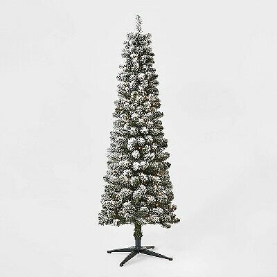 6ft Pre-lit Artificial Christmas Tree Flocked Alberta Spruce Clear Lights - Wond