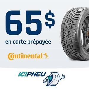 65$ en carte prépayée à l'achat de 4 pneus Continental sélectionnés