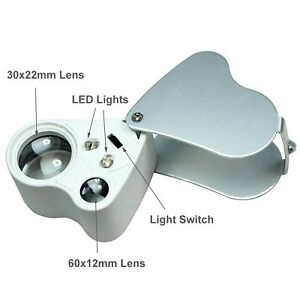 Double Lens w/LED Light 30X & 60X Jewellery Loupe Eye Magnifier