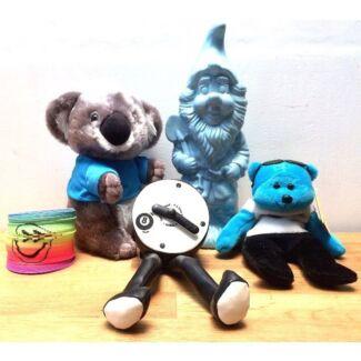 5 X Fun Home Decor Items - Clock Money Box Beanie Baby Koala. Exc Cond